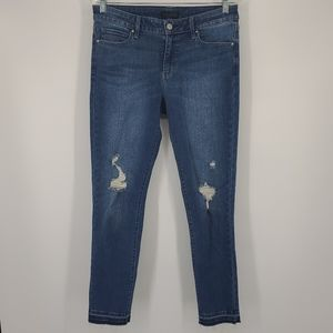 Uniqlo Distressed Skinny Mid Rise Stretch Jeans
